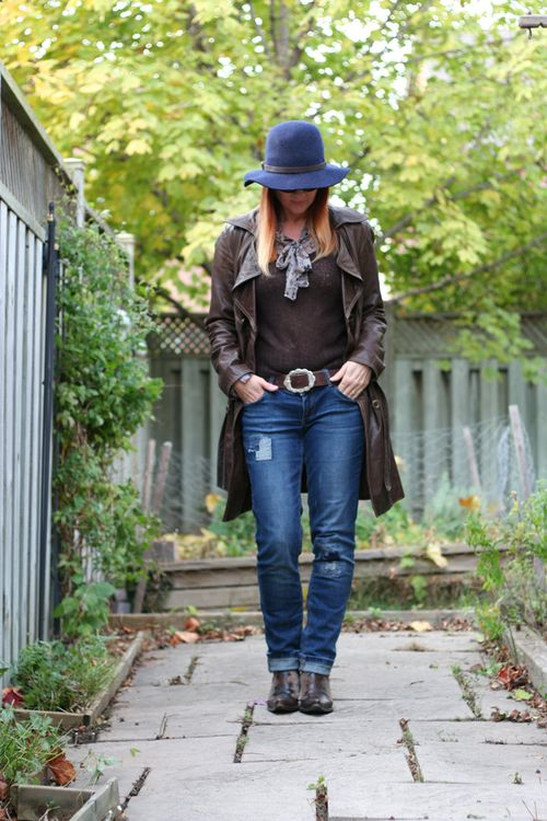 Gap fedora brown leather coat long jeans