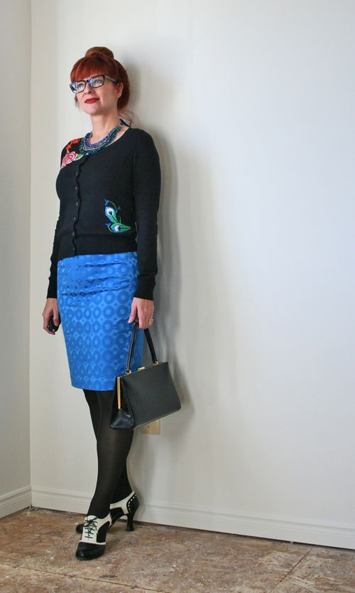 Blue pencil skirt black cardigan