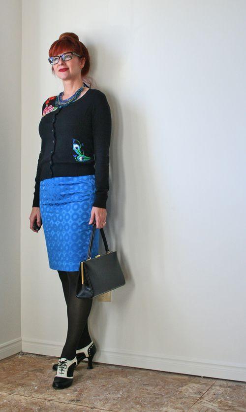 Blue pencil skirt black cardigan