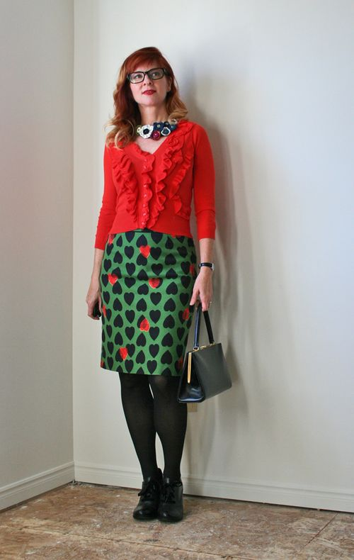 Green anthropologie heart pencil skirt