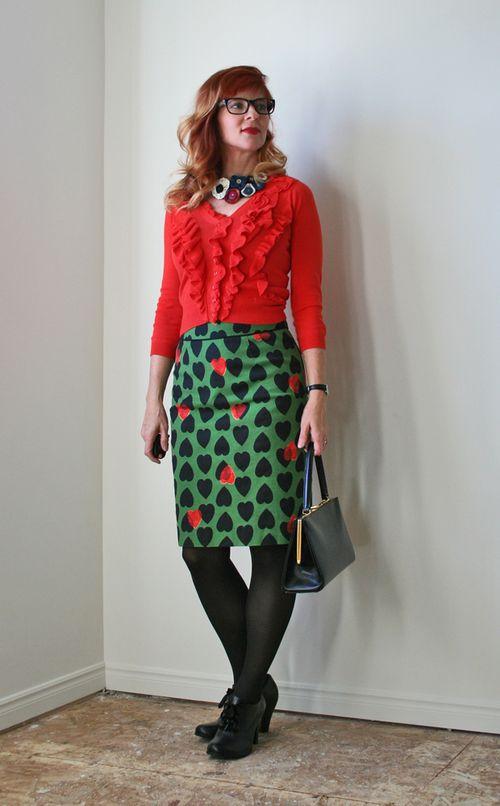 Orange cardigan green heart anthropologie skirt