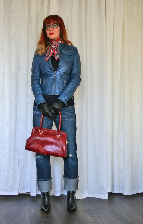 Danier blue leather jacket red handbag