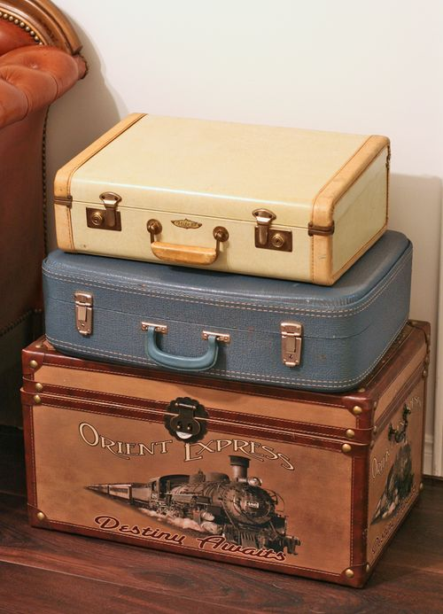 Side table made out of vintage suitcases