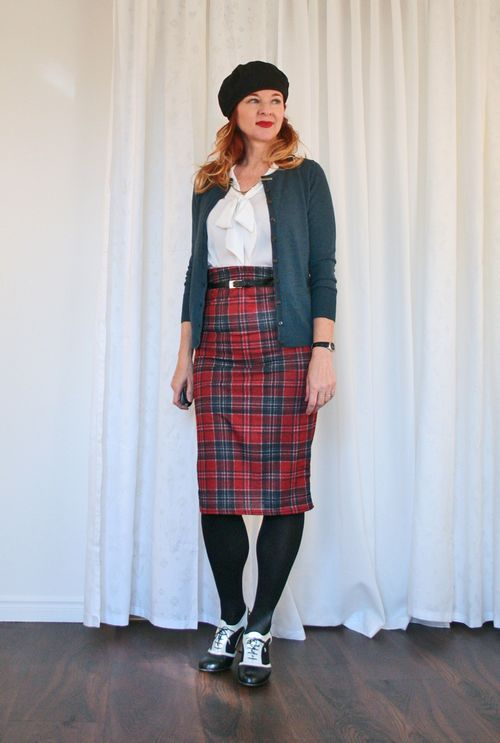 Plaid skirt with sweater and beret