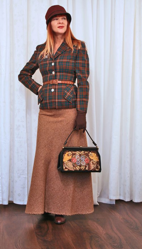 Vintage plaid 1940s jacket maxi skirt