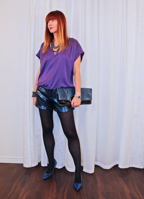 Sequin shorts purple top over 40 style