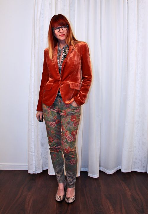 Snakeskin heels floral jeans velvet blazer how to mix patterns suzanne carillo