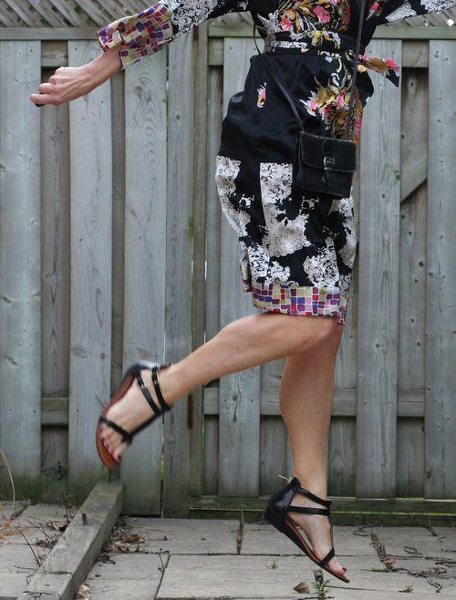 Silk kimono and sandals