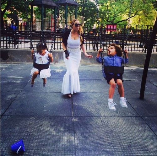 Mariah carey at park in gown