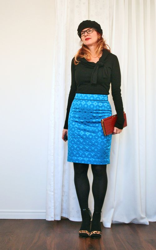 Blue anthropologie skirt black sweater