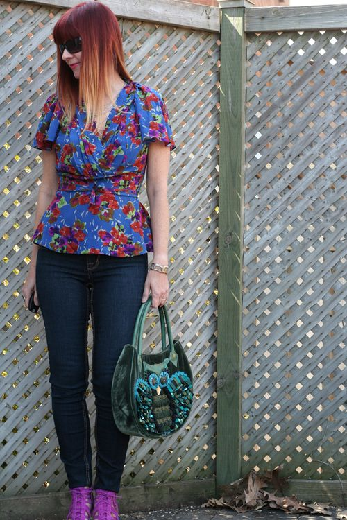 Anthropologie patterned silk blouse