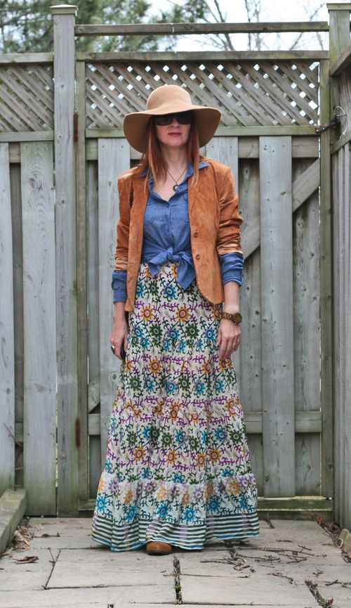 Patterned maxi skirt suede jacket boho fashion
