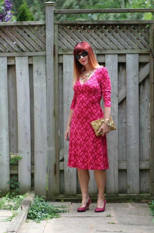 Gold anthropologie clutch pink tartan silk patterned dress pink fluevog shoes suzanne carillo style files