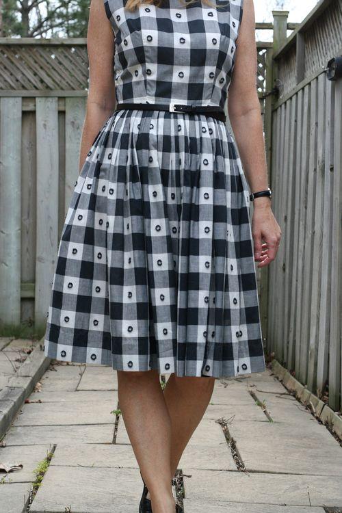 Black and white 1950's check dress