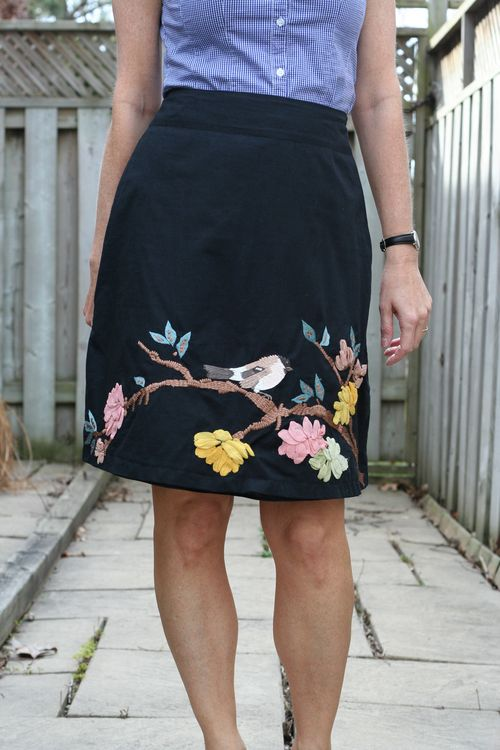 Ebroidered bird skirt anthropologie