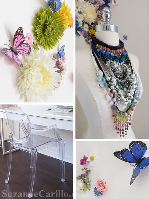 Office make over home office floral wall decorating idea