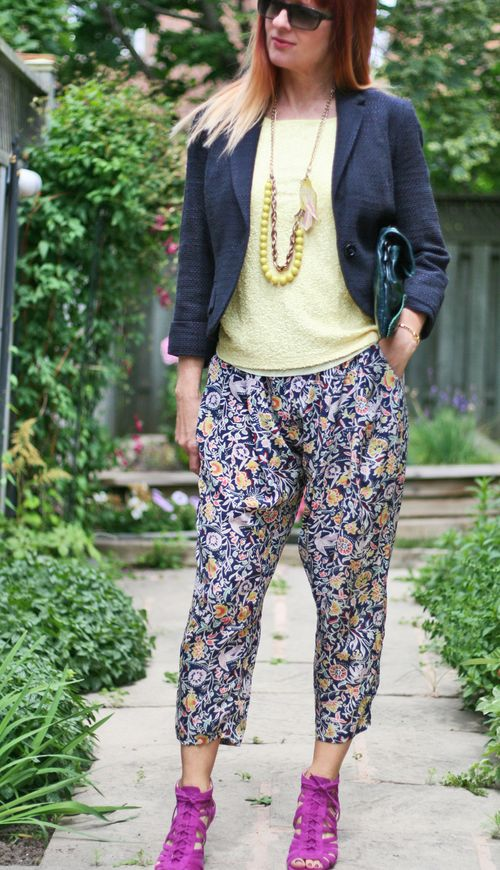 Wear sequins during the day. How to wear harem pants over 40 suzanne carillo style files vincent camuto cage heels anthropologie pants and blazer joe fresh top