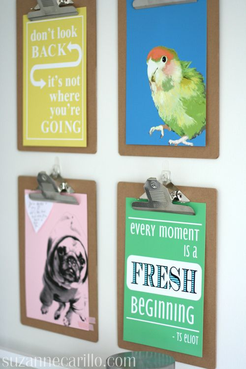 Quote wall made with clipboards home office decorating ideas suzanne carillo