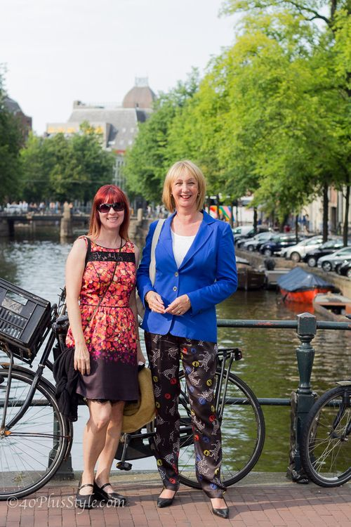 Greetje no fear of fashion in front of canal amsterdam suzanne carillo