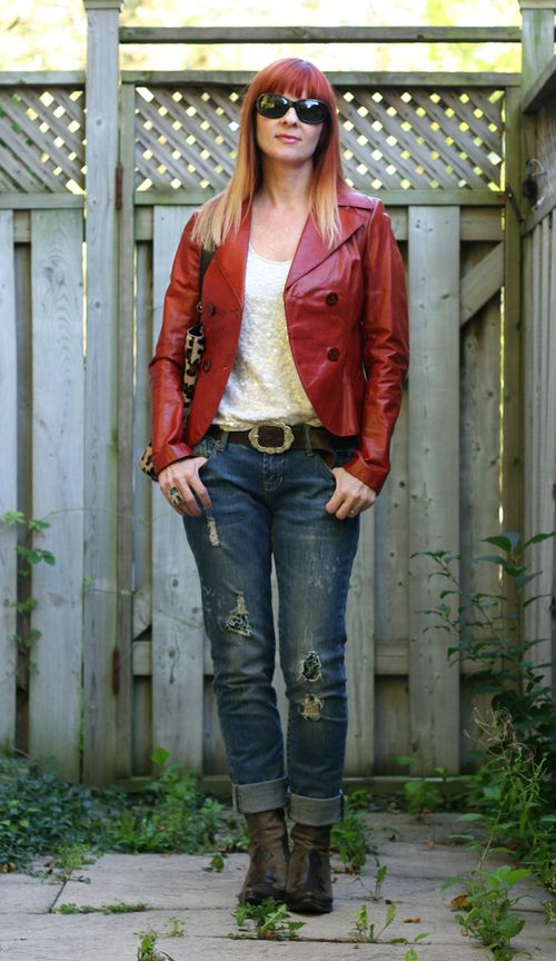 How to wear sequins during the day Rust leather jacket sequinned shell