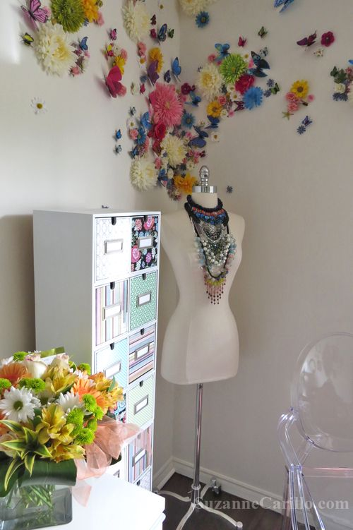 3D floral wall home decorating ideas suzanne carillo