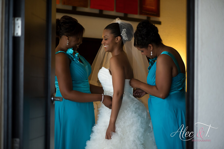 African American bridal party hair and make-up Los Cabos