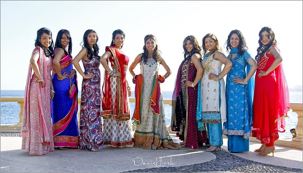 Indian Pakistani bridal party hair and make-up Sunset Da Monalisa Los Cabos
