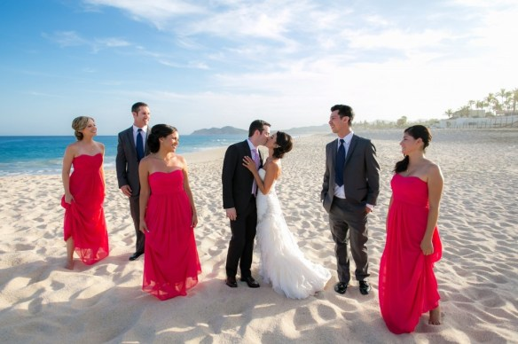 Cabo bridal party on the beach