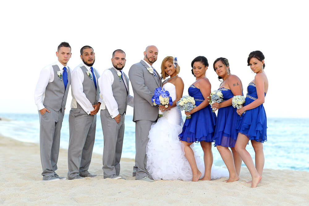 Wedding photography groomsmen and bridesmaids beach Dreams Los Cabos Blue and gray