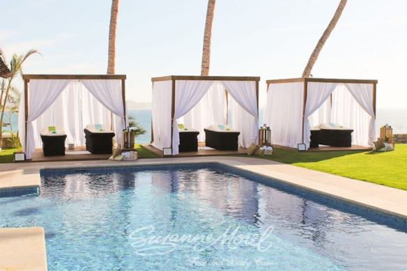 Spa Bachelorette Party Cabo Wedding massage by the pool set up