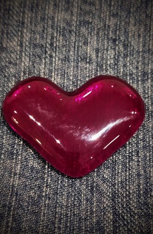 Glass Heart Brooch