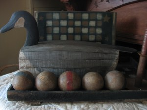 wooden balls in a row