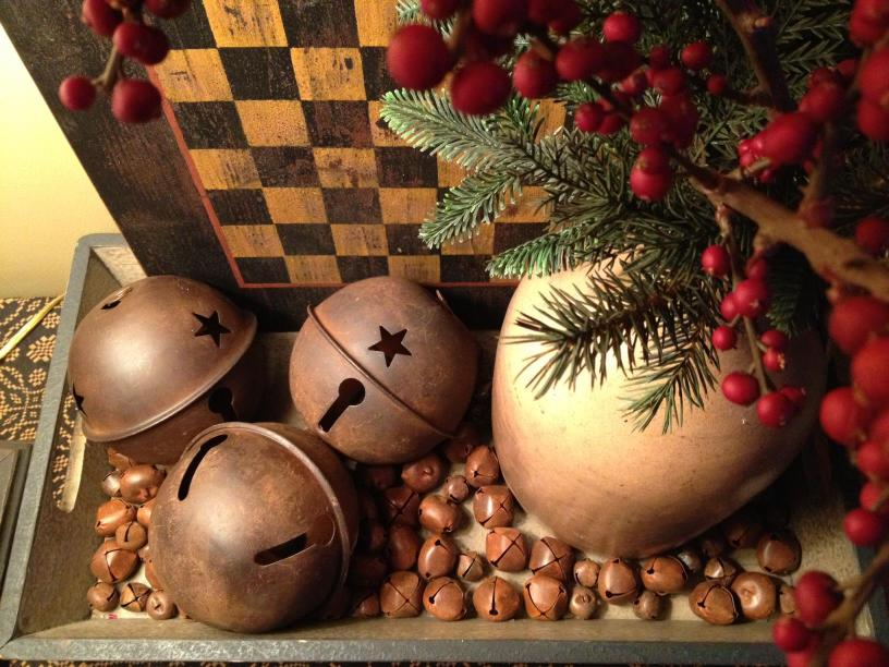 Rusty Sleigh Bells and Red Berries