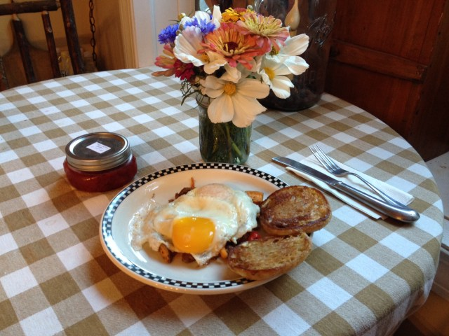 My first day of retirement included Charles serving me breakfast, homemade Strawberry Jam from a friend, and a bouquet of flowers from my colleagues at Drumlin Farm.