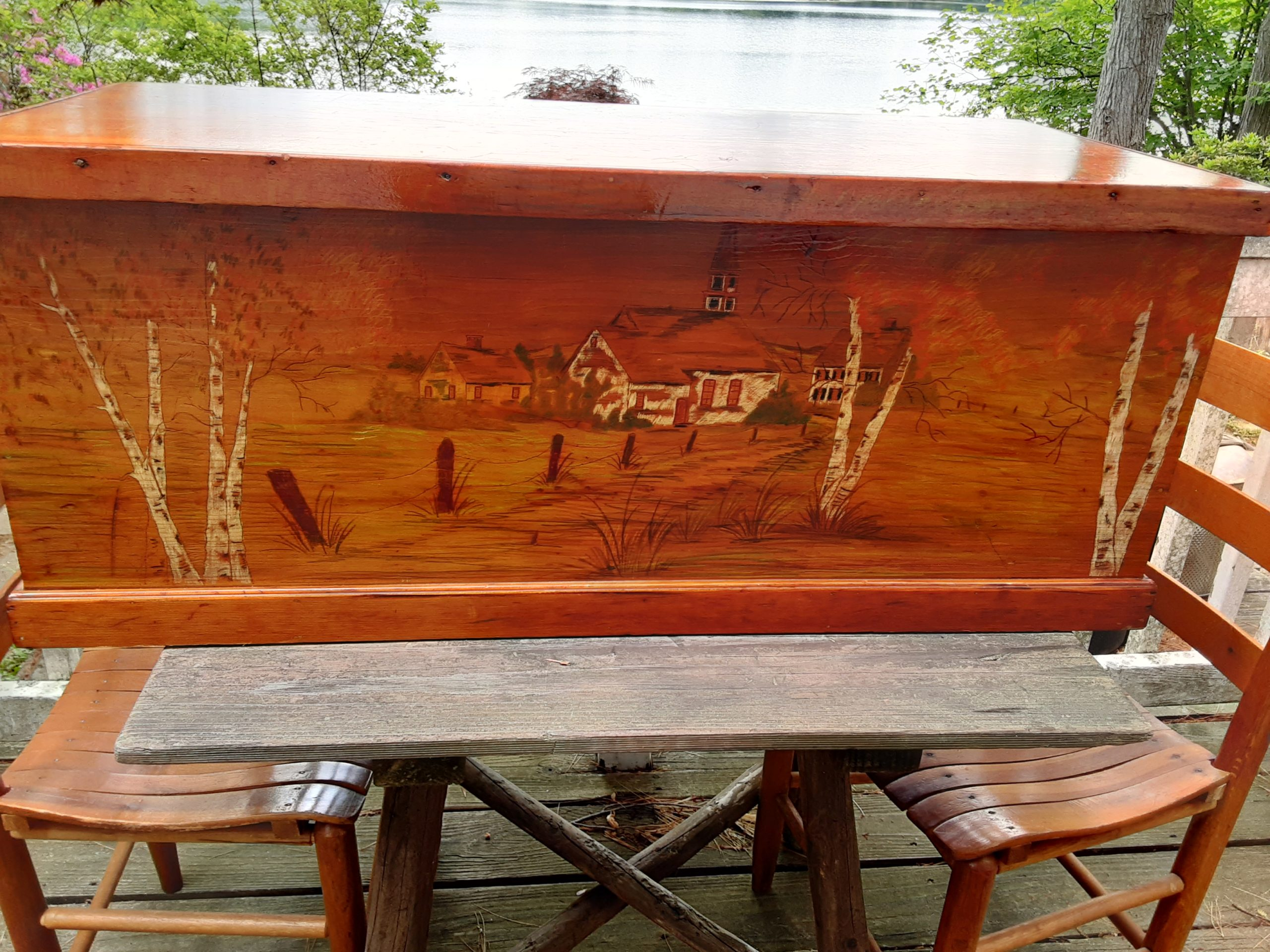 Hand Painted Pine Trunk