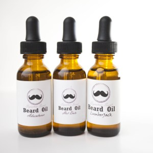 Triple power beard oil bottles