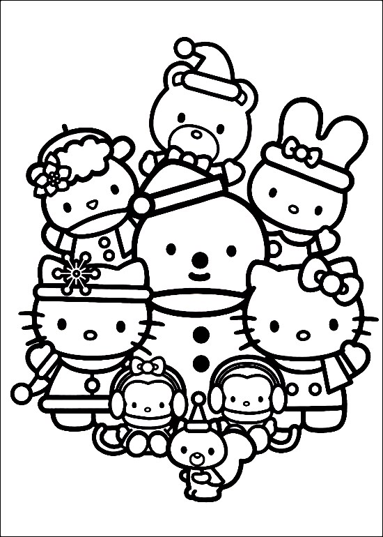 Hello Kitty Christmas Coloring Pages : hello, kitty, christmas, coloring, pages, Happy-family-of-hello-kitty-celebrating-christmas-coloring-pages, Suzanne, Zeedyk