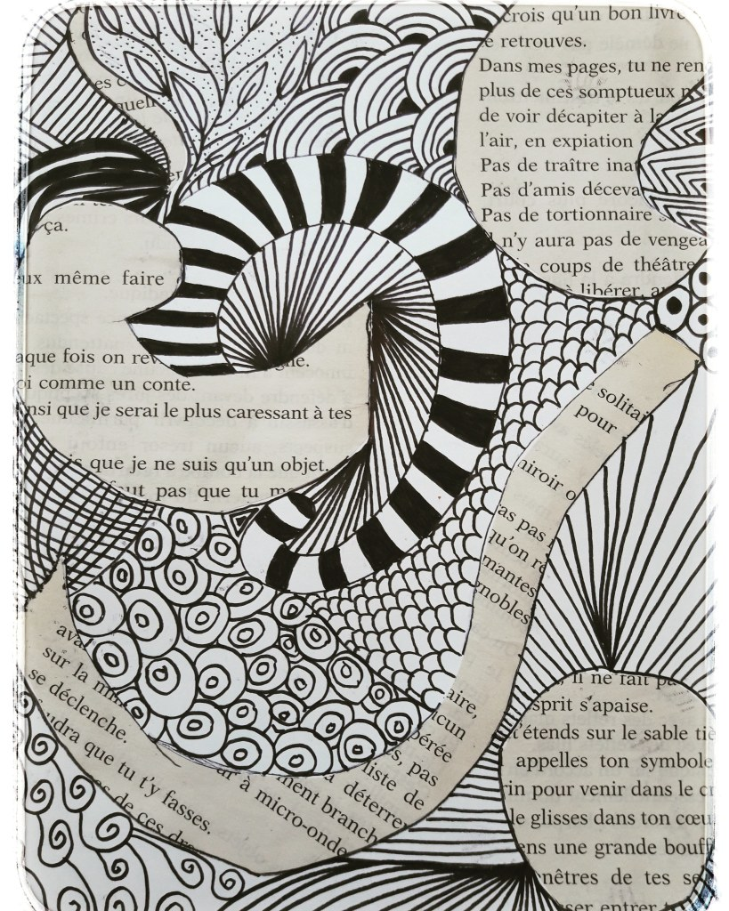 Techniques mixtes - Collage et Zentangle