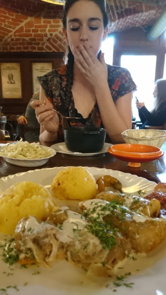 Yummy Romanian stuffed cabbage and goulash (dishes taken from Hungary??)