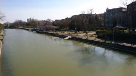 Crossing one of the bridges in Timișoara