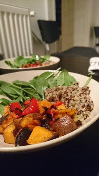 Roasted sweet potato, red pepper, quinoa and spinach
