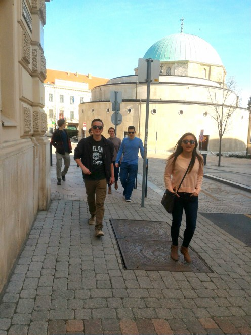 Meghan and Chris walking around Pécs