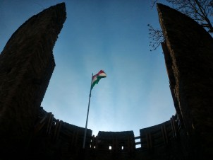 Hungarian flag waving in the middle of Bishop's Castle