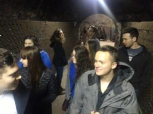 Touring the pezsgő cellar