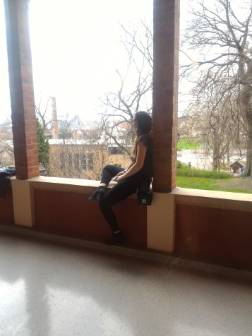 Maddie on the balcony of the Zsolnay Porcelain Factory Museum