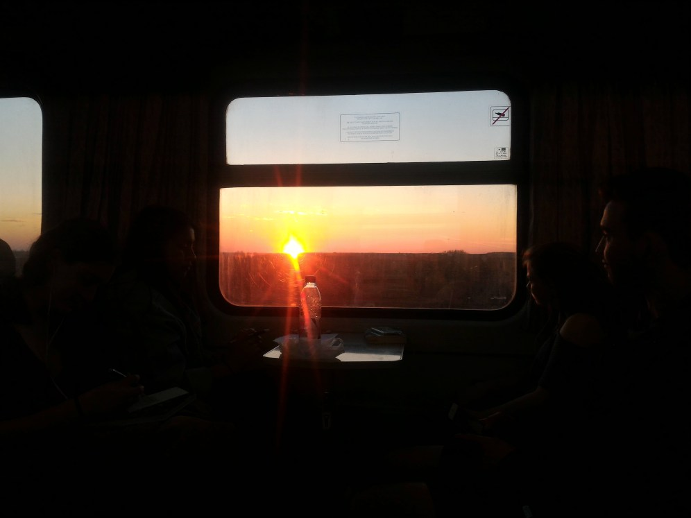 View of the sunset on the train