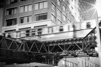 The L train passing through the Chicago Loop