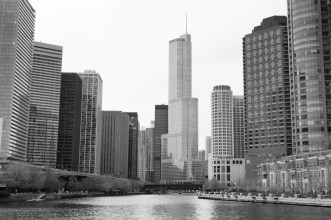 Downtown Chicago buildings from Lake Michigan