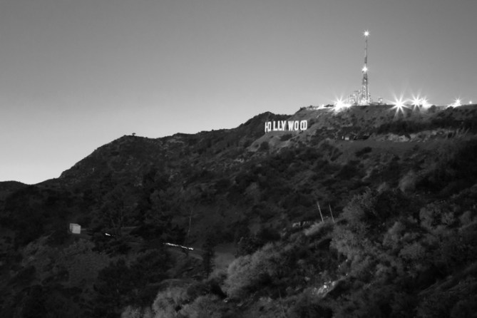 Hollywood sign at night