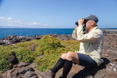 Birdwatcher Looking Through Binoculars on Seymour Island